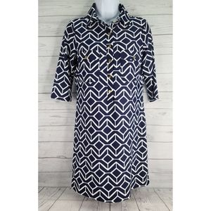 Jude Connally Shirt Dress Blue White Geometric